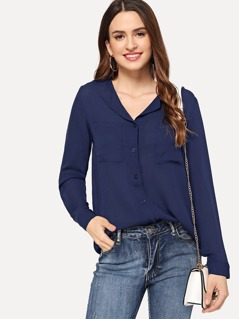 Revere Collar Pocket Front Chiffon Blouse