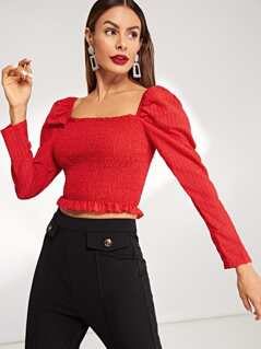 Square Neck Shirred Panel Crop Top