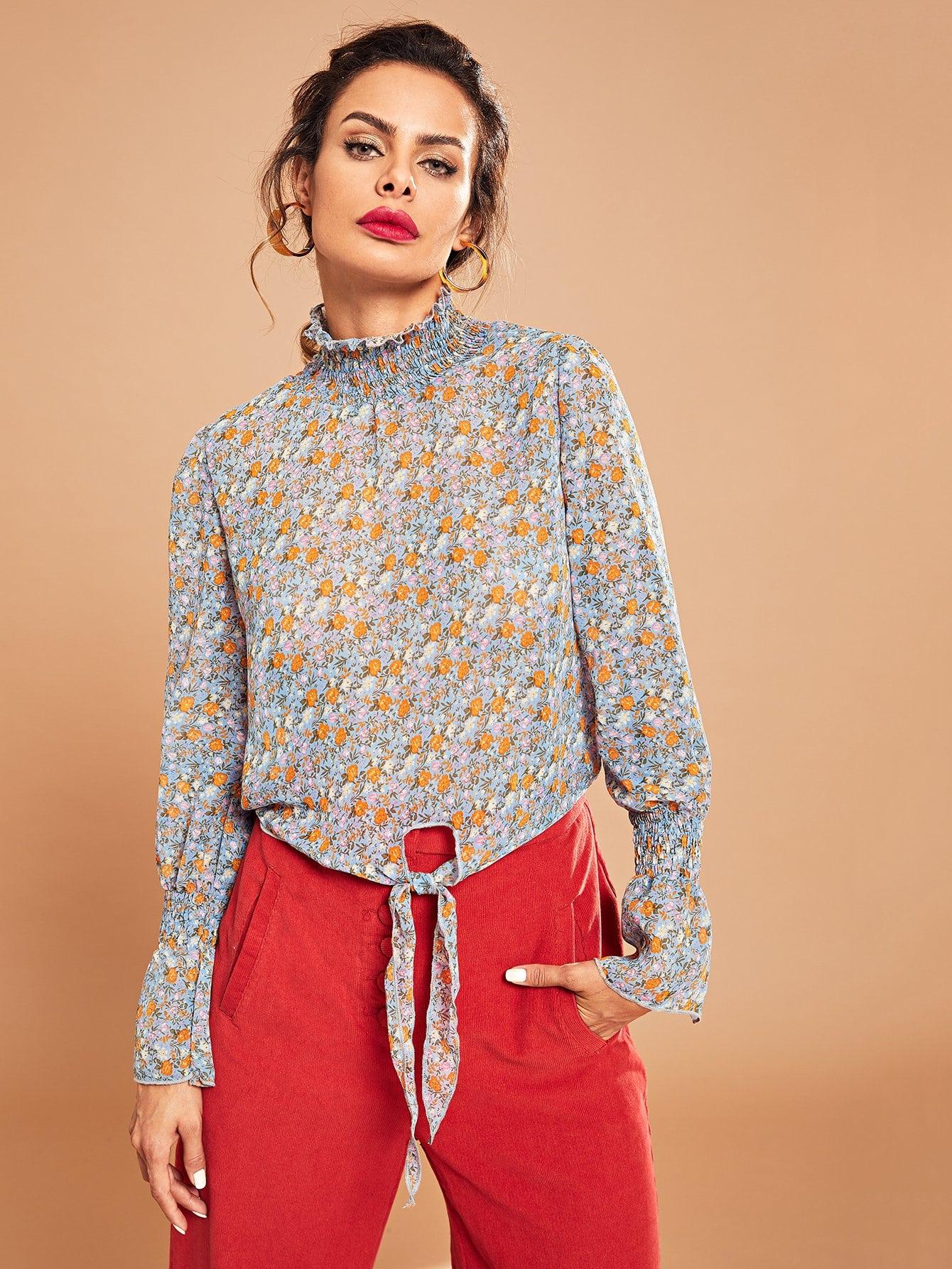 Купить Цветочная блузка со узлом с рюшами вырезом, Andy, SheIn