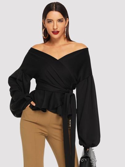 Bardot Lantern Sleeve Wrap Belted Blouse