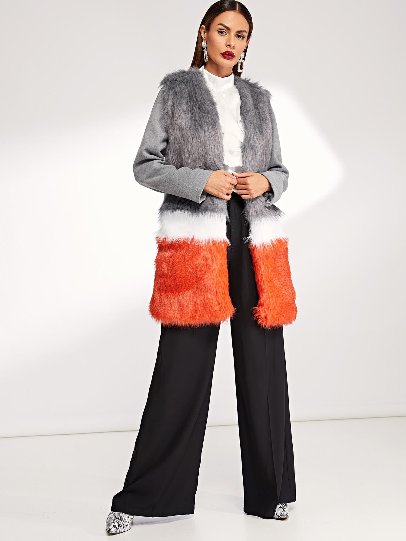Купить Кроить и шить пальто из искусственного меха, Andy, SheIn