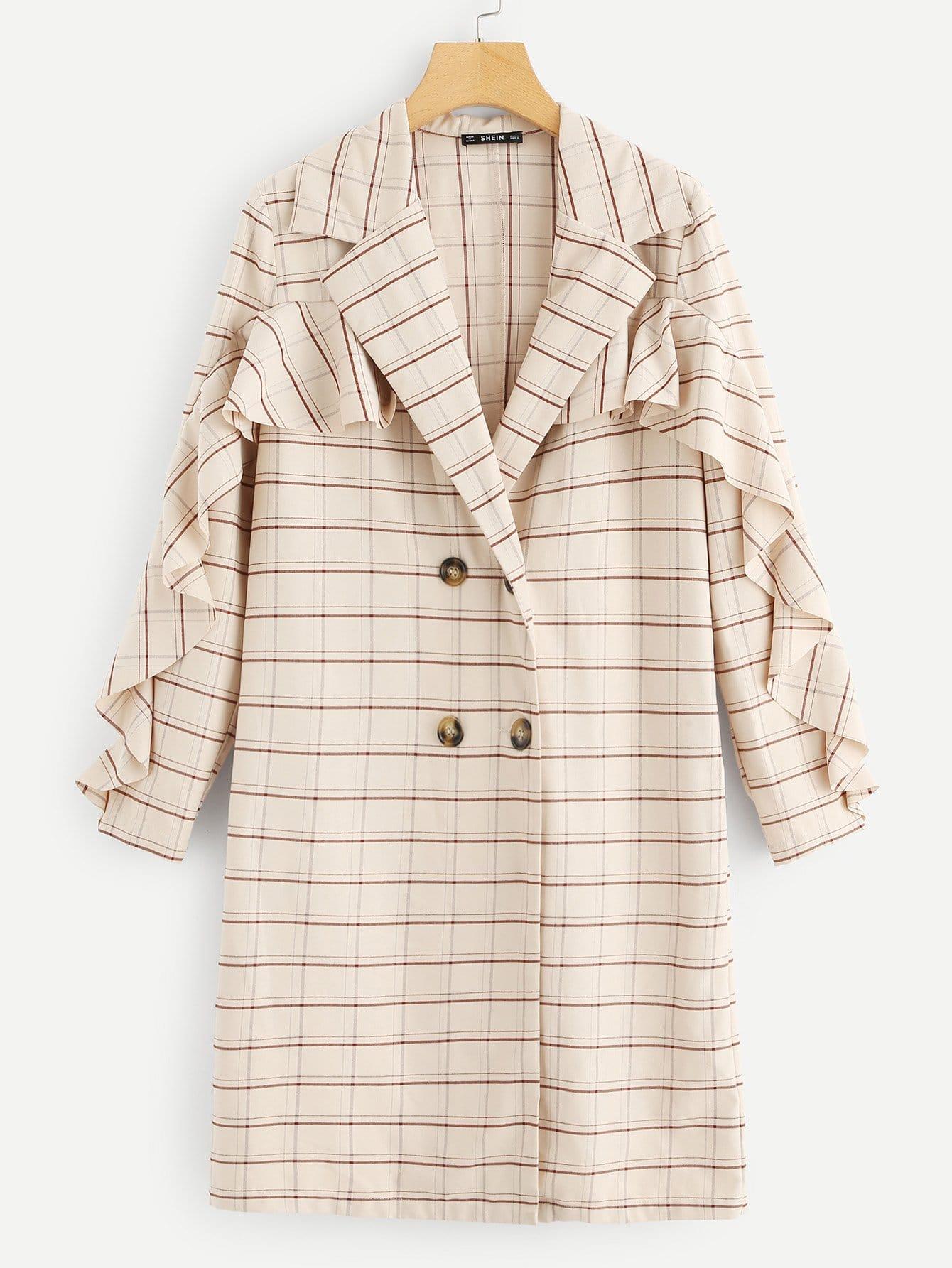 Двубортное пальто в клетку с оборками SheIn