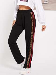 Elastic Waist Leopard Print Pants