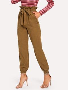 Paperbag Waist Elastic Hem Belted Pants