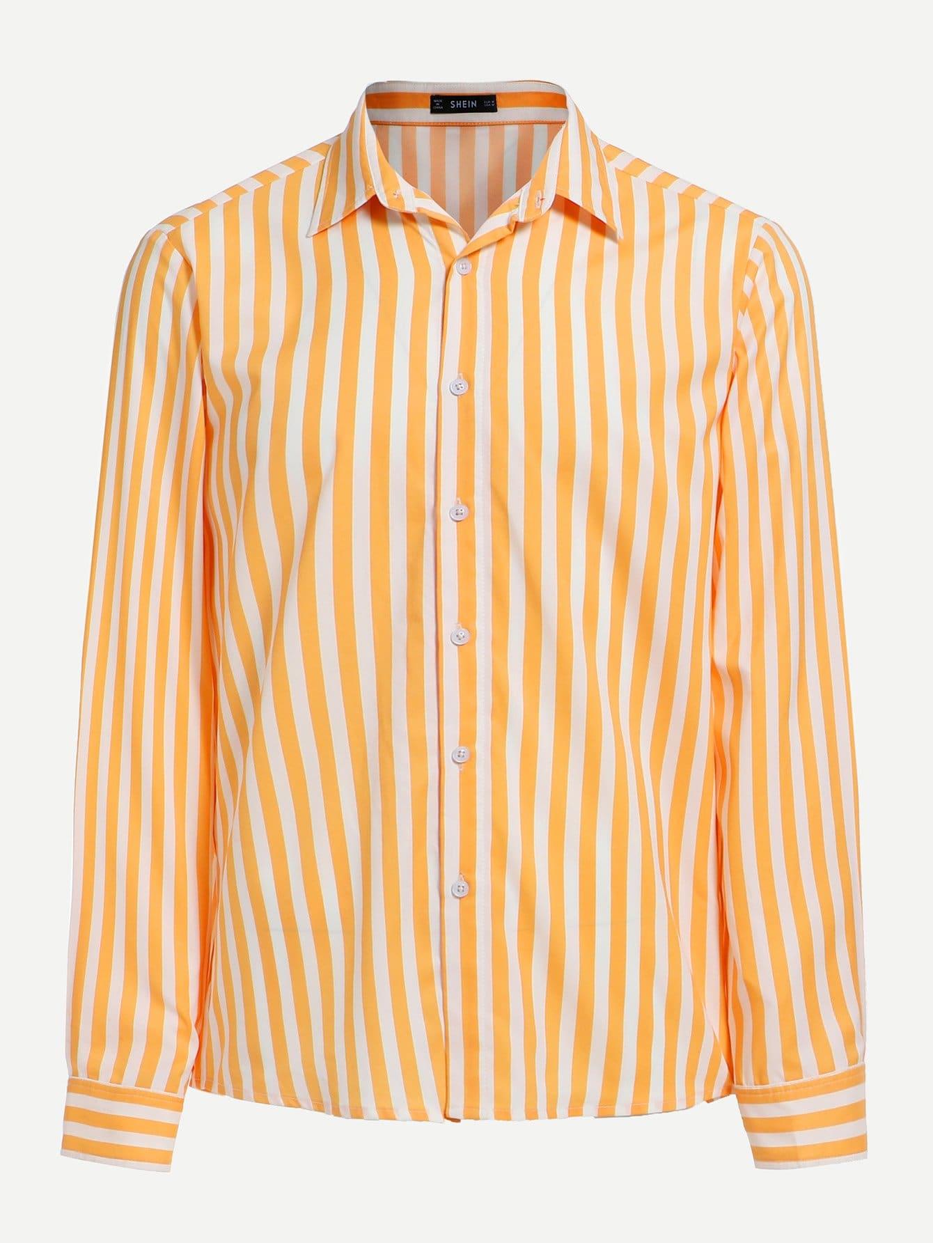Купить Мужская полосатая футболка с украшением пуговицы, null, SheIn