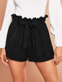 Tie Front Ruffle Waist Shorts