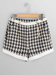 Solid Trim Double Breasted Houndstooth Tweed Shorts