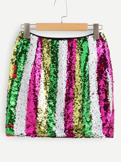 Contrast Sequin Bodycon Skirt