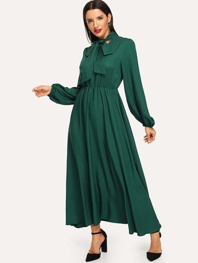 Lantern Sleeve Tie Neck Maxi Dress