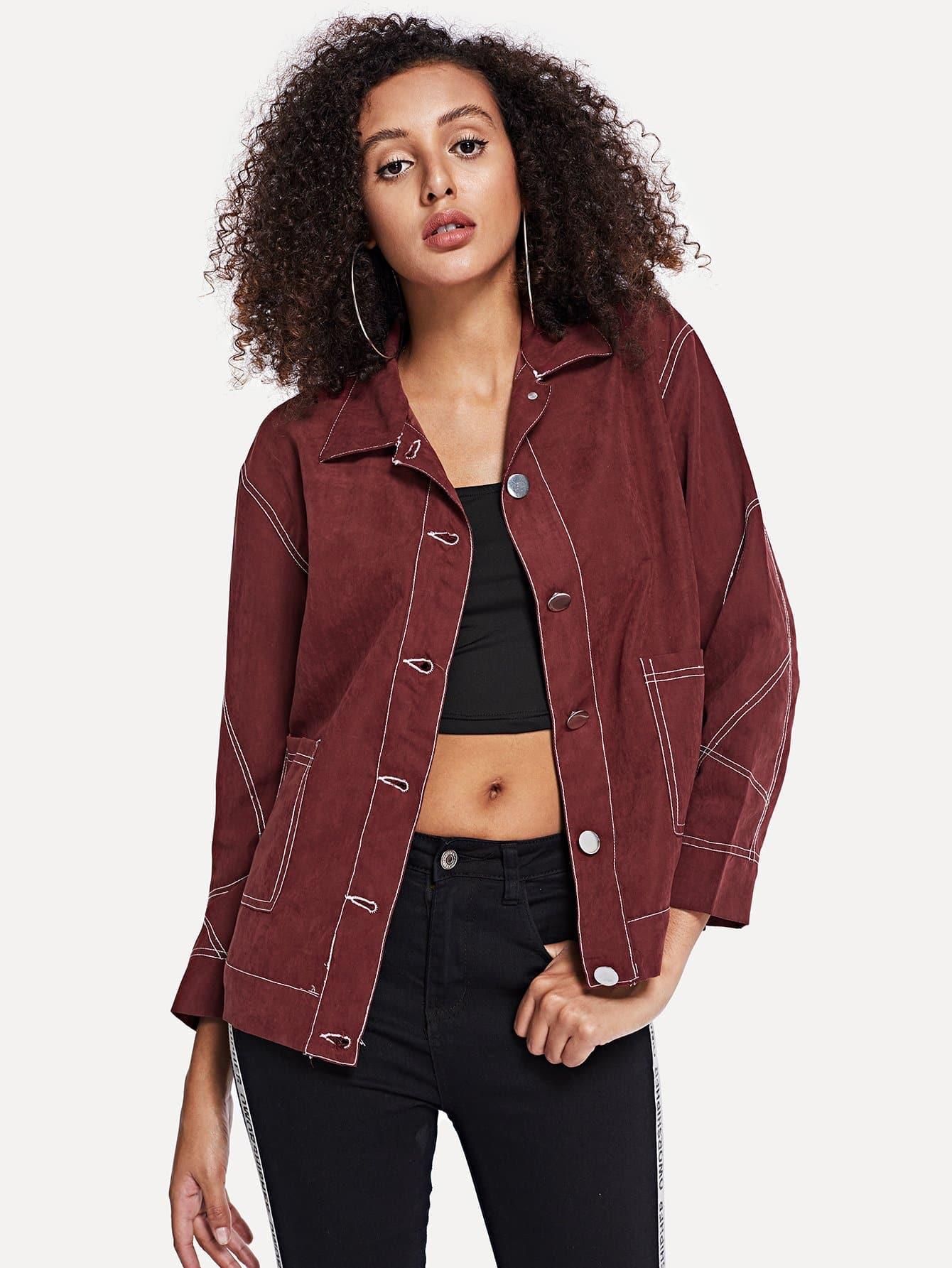 Купить Куртка на пуговицах с карманом, Elaine, SheIn