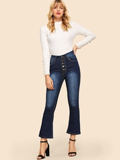 Bleach Dye Flare Hem Jeans