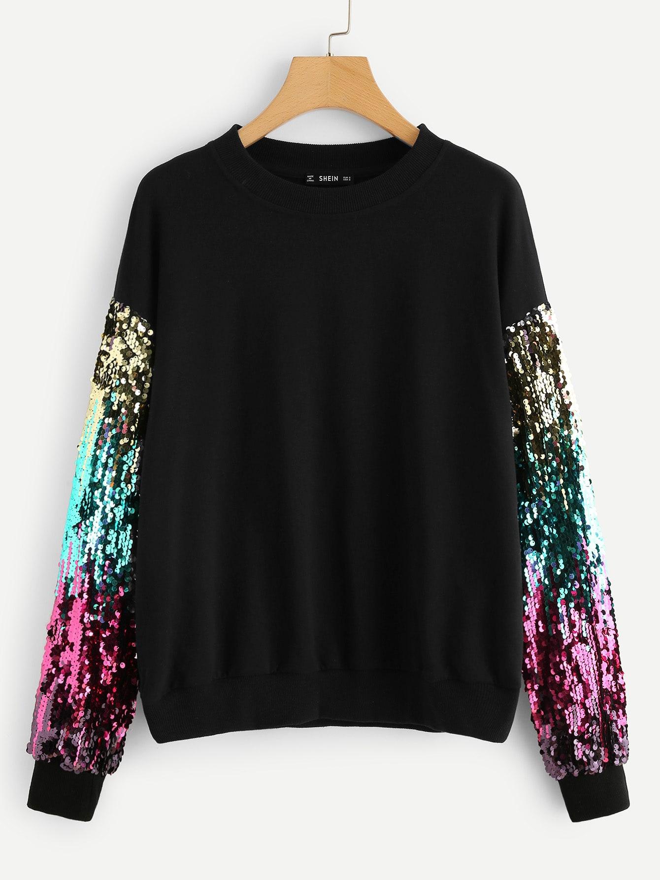 Фото - Плюс размеры контрастный пуловер с блестками от SheIn цвет чёрные