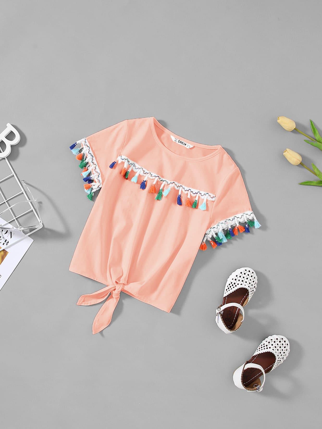 Купить Для девочек футболка с кисточками с бантом, null, SheIn