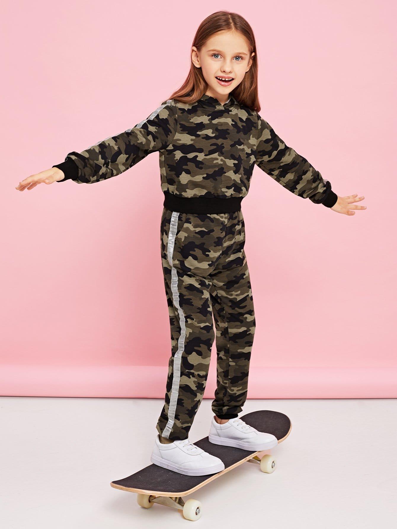 Купить Для девочек камуфляжная толстовка и брюки комплект, Anna C, SheIn