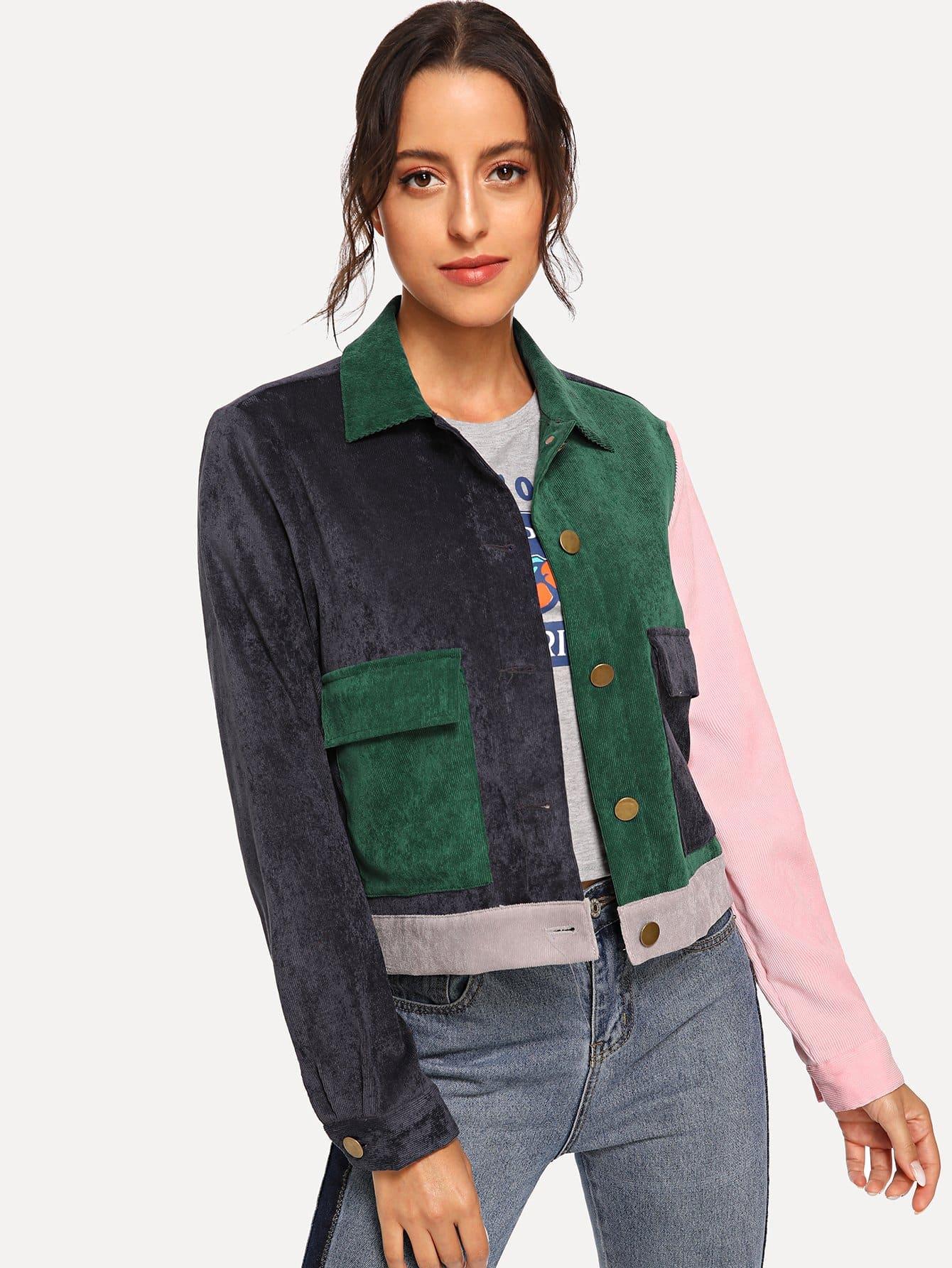 Купить Многоцветный на пуговицах Одноцветный Повседневный Жакеты + Куртки, Mary P., SheIn