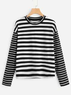 Drop Shoulder Mixed Striped T-shirt