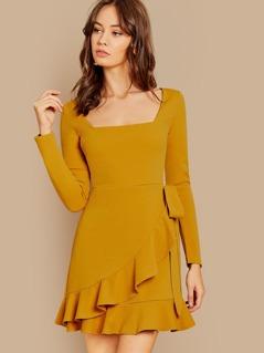 Square Neckline Back Keyhole Ruffle Hem Mini Dress