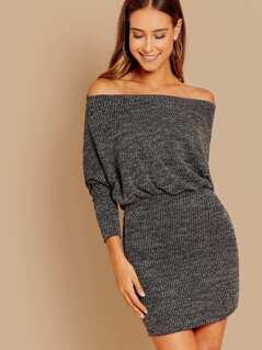 Long Sleeve Fitted Skirt Knit Mini Dress