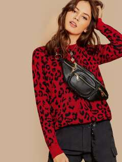 Round Neck Leopard Print Pullover Knit Sweater