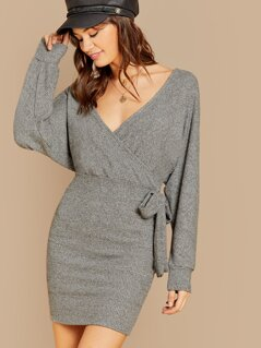 Surplice Neckline Side Tie Back Cut Out Knit Dress