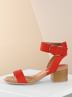 One Band Ankle Strap Open Toe Stack Heel Sandals