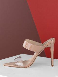 Open Pointy Toe Stiletto Mule Heels