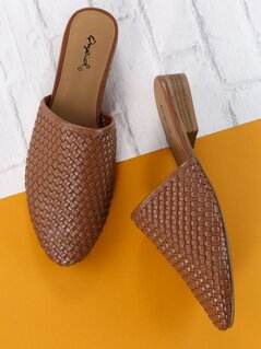 Basket Woven Detail Slide On Flat Mules