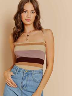 Knitted Striped Cami Tube Top