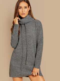 Side Pocket Heathered Knit Long Sleeve Tunic Sweater