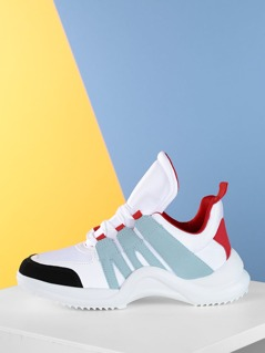 Three Toned Lace Up Chunky Mesh Dad Sneakers