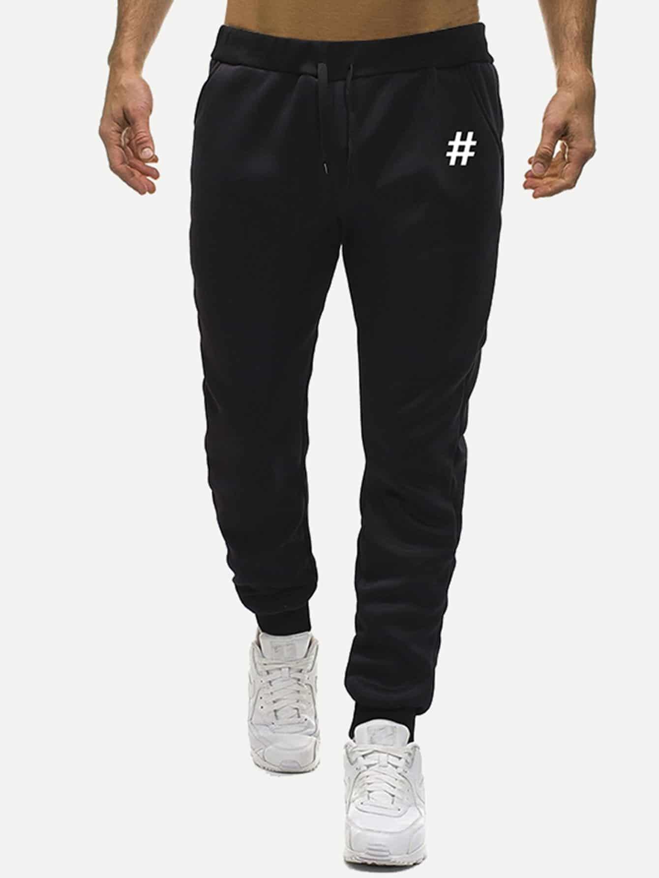 Фото - Мужские брюки с принтом геометрических фигур от SheIn черного цвета