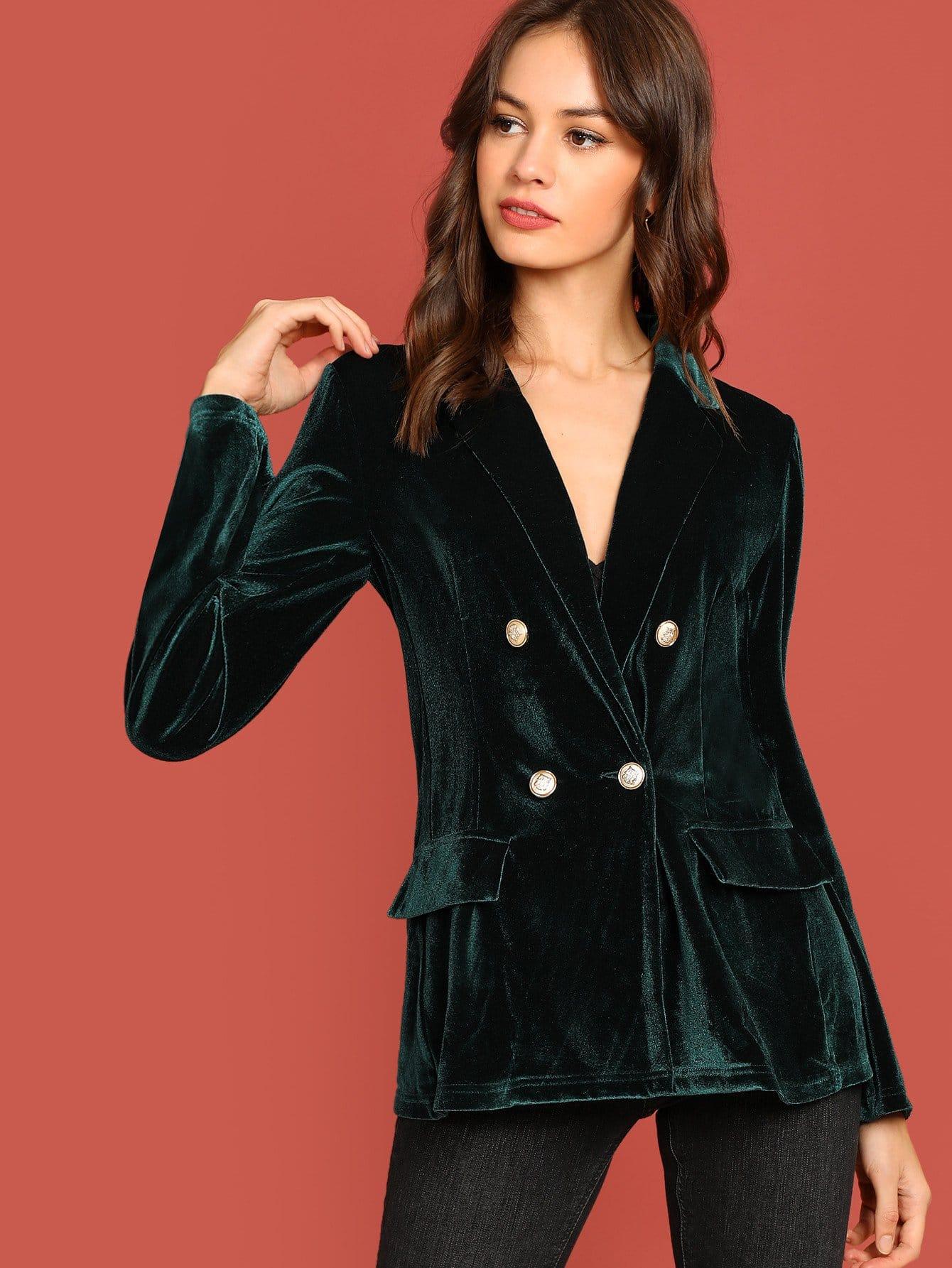 Фото - Двубортный бархатный пиджак от SheIn зеленого цвета