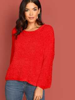 Fluffy Faux Fur Knit Round Neck Pullover Sweater