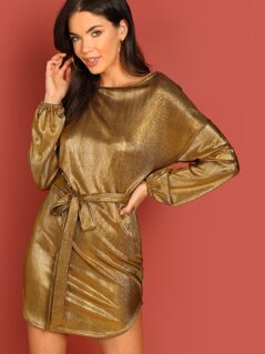 Pleated Metallic Waist Tie Long Sleeve Mini Dress