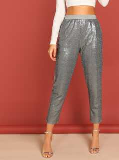 Elastic Waist Sequined Skinny Sweatpants