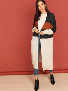 Open Front Colorblock Knit Duster Cardigan