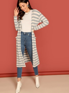 Striped Open Front Side Pocket Duster Cardigan