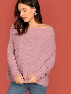 Chenille Soft Rib Knit Pullover Sweater