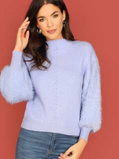 Faux Fur Beshop Sleeve Pullover Knit Sweater