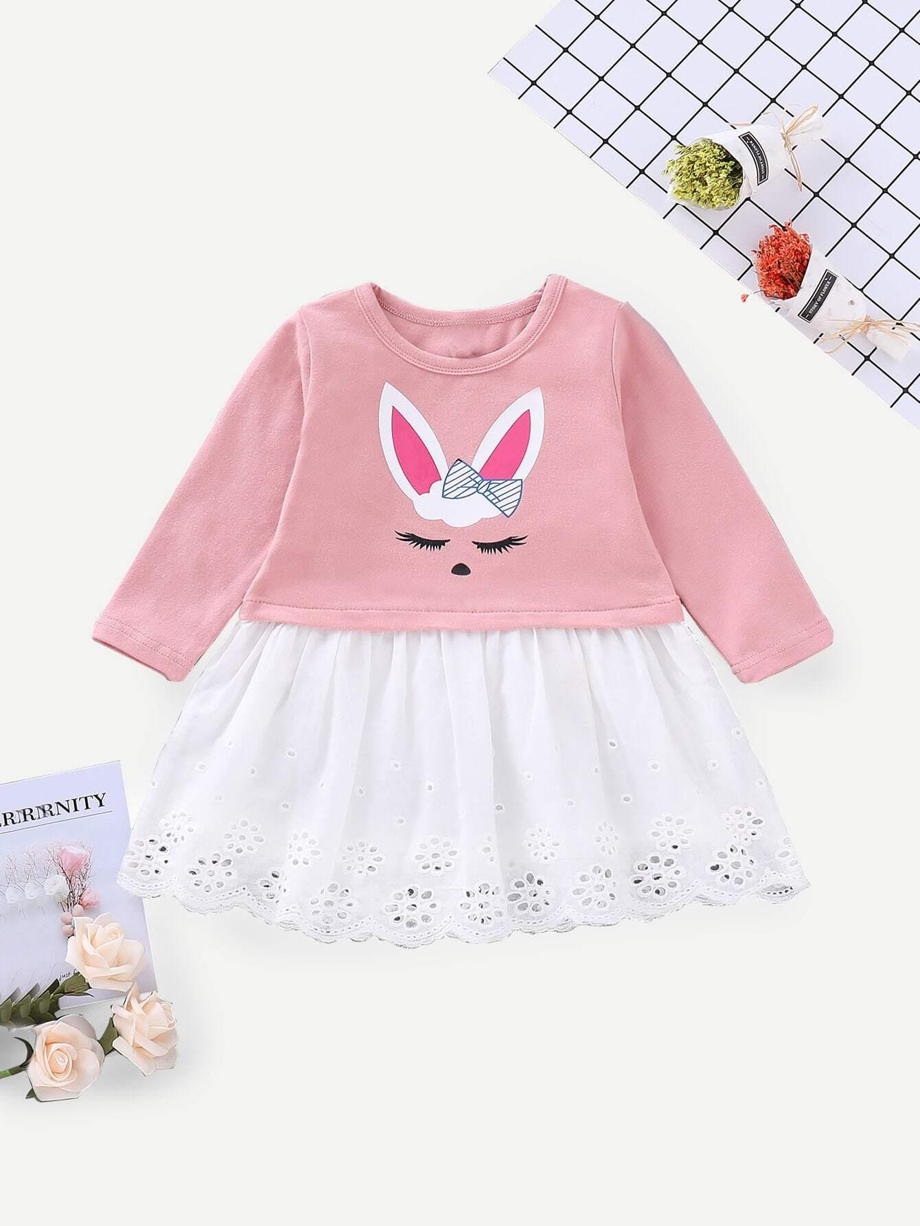 Купить Платье с вышивкой и кружевными оборками и принтом мультяшным для маленьких малышей, null, SheIn