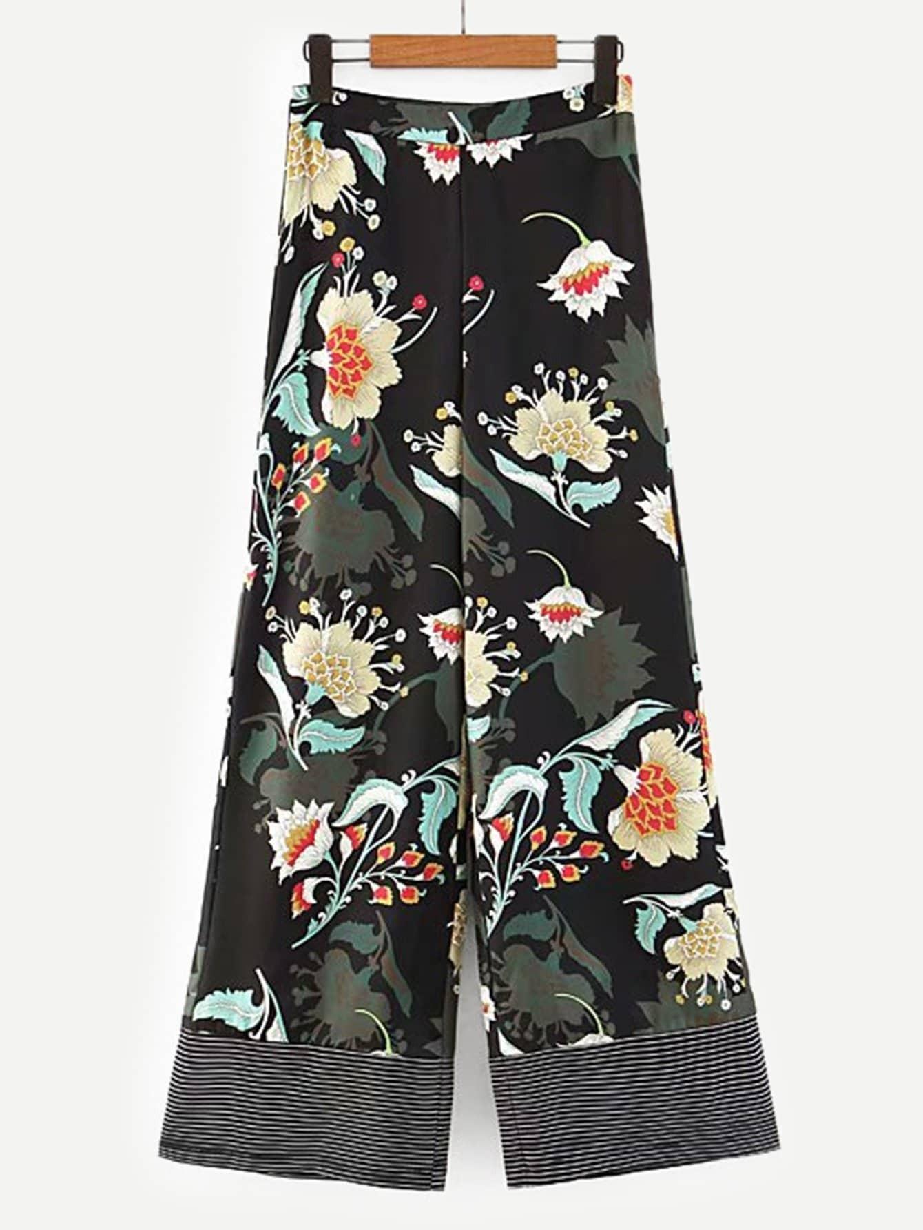Купить Широкие ножные штаны с принтом цветочным, null, SheIn