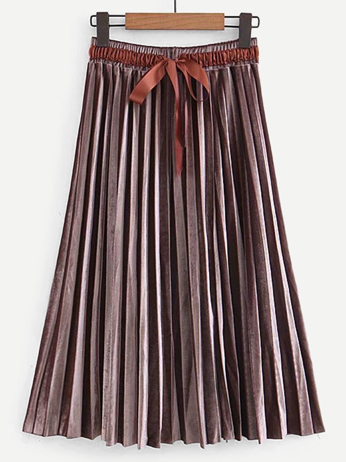 Плиссированная хлопковая юбка с бантом