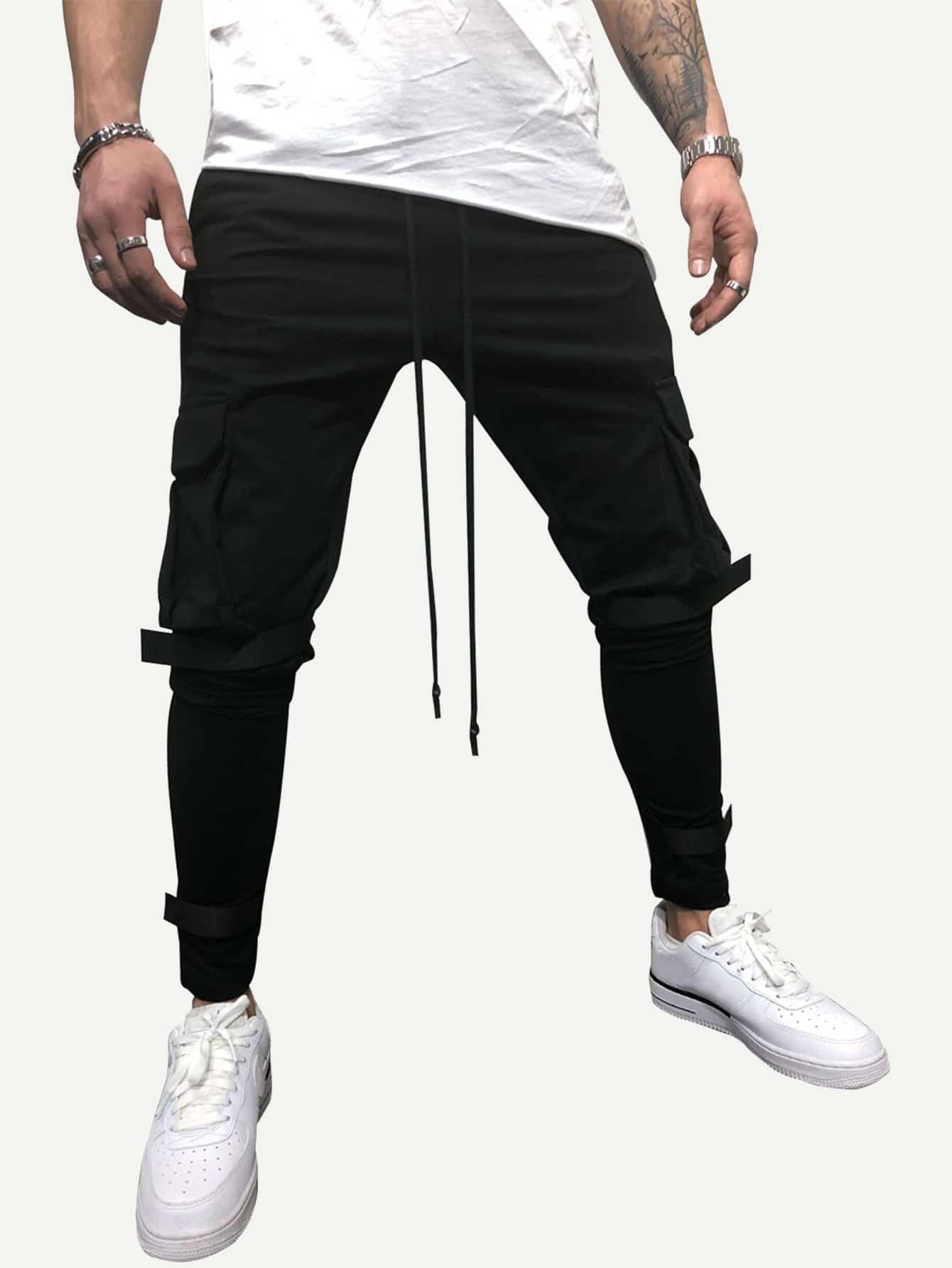 Купить Мужские однотонные брюки с карманами и эластичной, null, SheIn