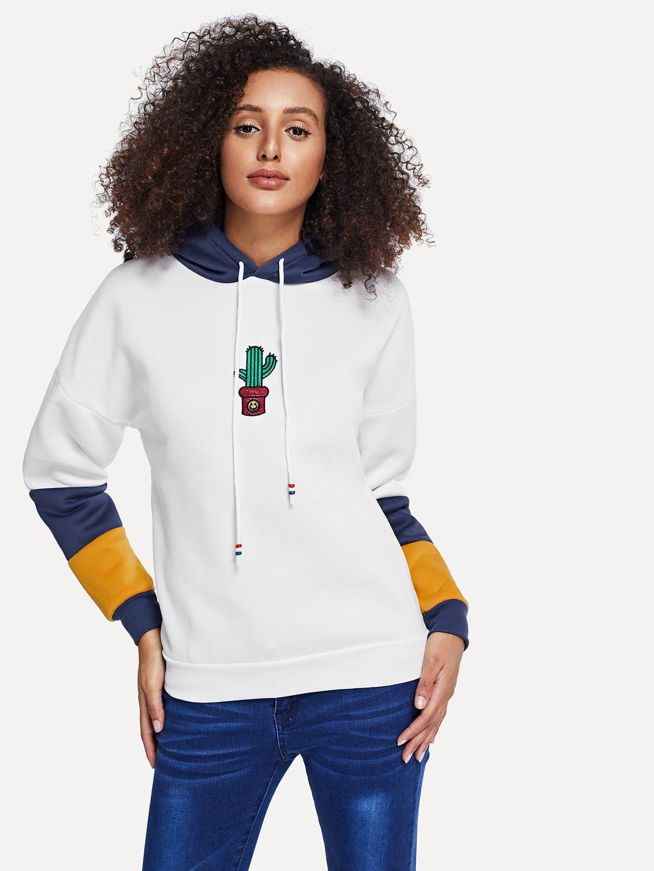 Купить Повседневный Мультяшный принт Контрастный цвет Пуловеры Серебрый Свитшоты, Elaine, SheIn