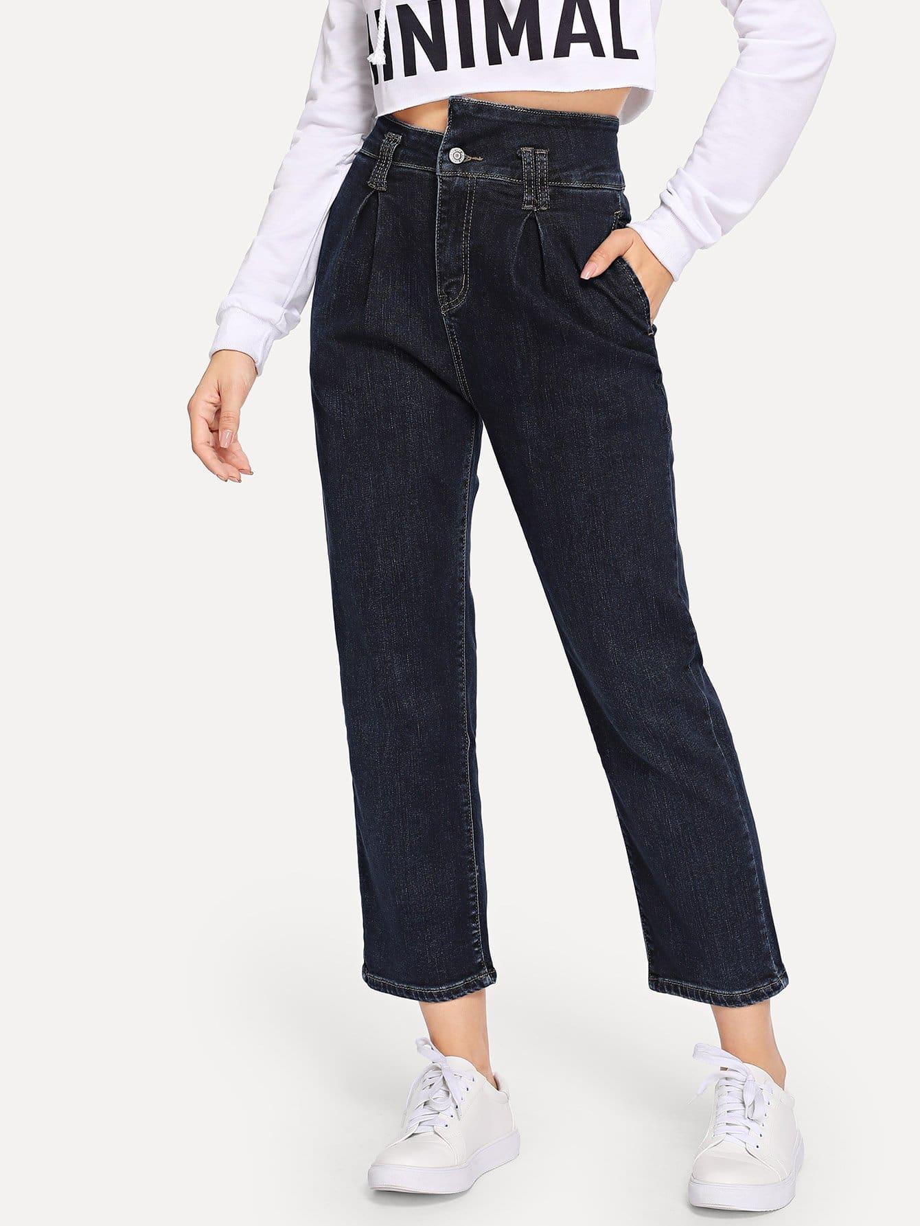 Купить Однотонные джинсы с карманами, Gabe, SheIn