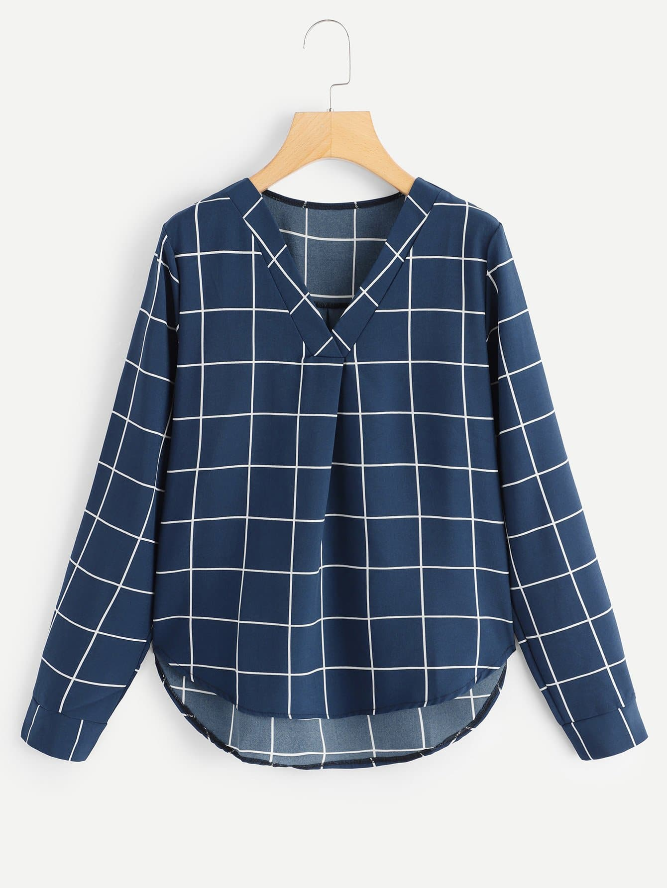 Купить Размера плюс блуза в клетку с V-образным вырезом, null, SheIn