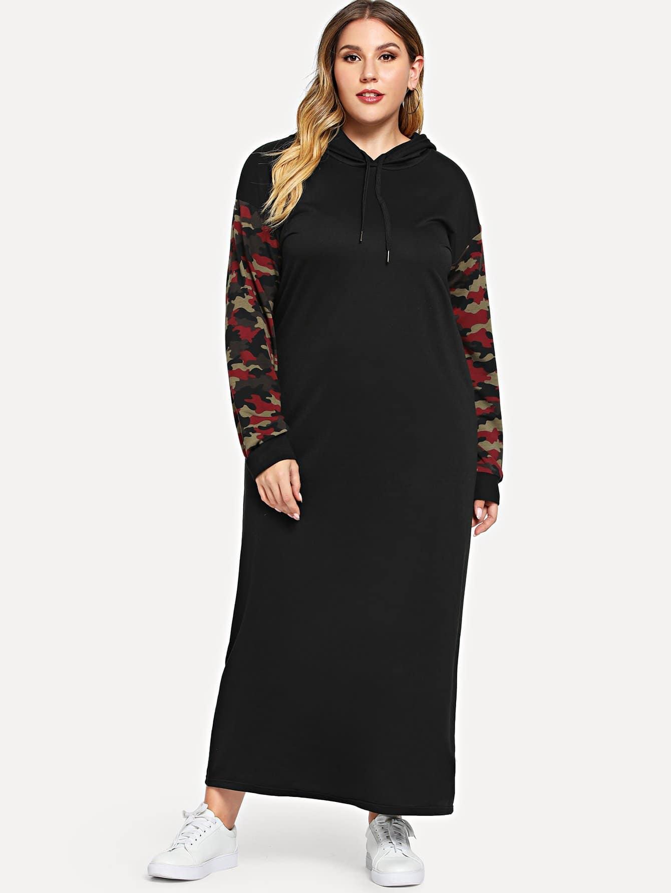 Размера плюс камуфляжное платье с капюшоном и кулиской