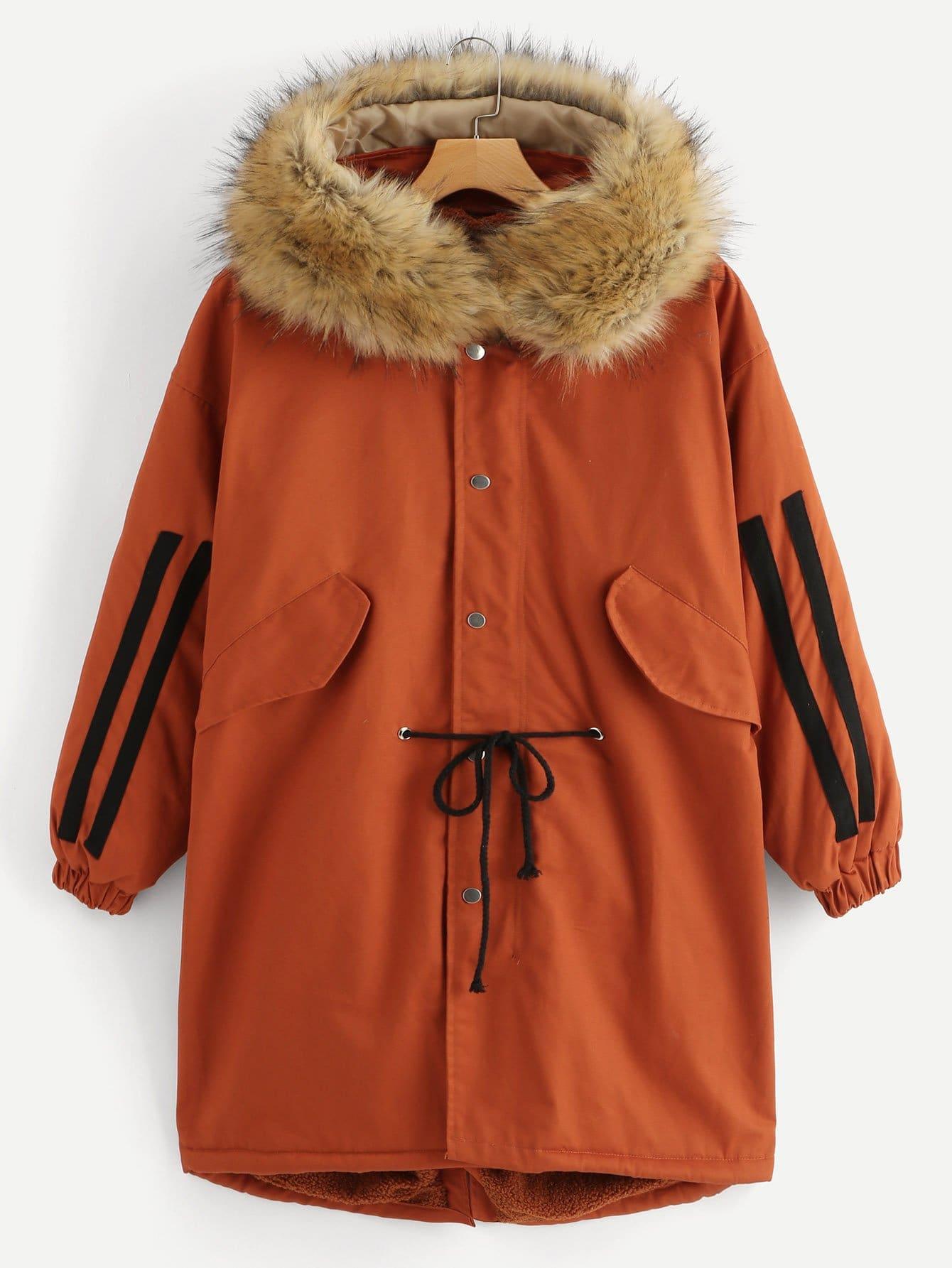 Купить Пальто в полоску с капюшоном и эластичной талией, null, SheIn