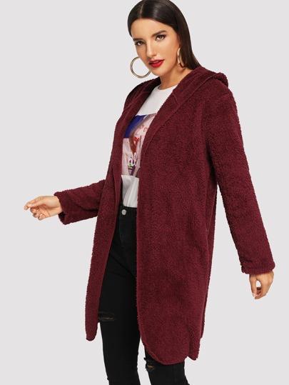 SheIn / Open Front Teddy Hooded Coat