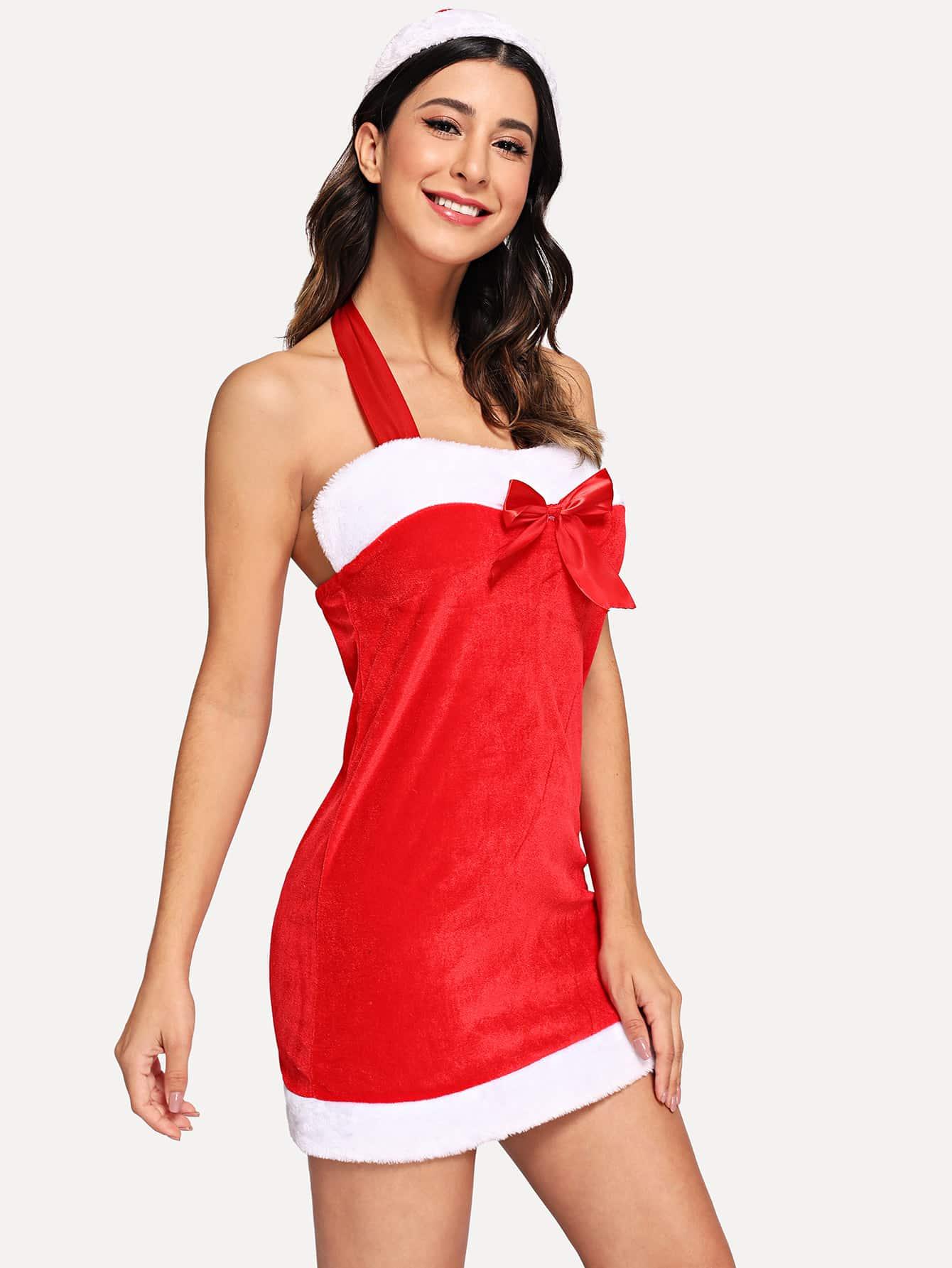 Купить Рождественское контрастное платье-халтер и шляпка, Gabe, SheIn